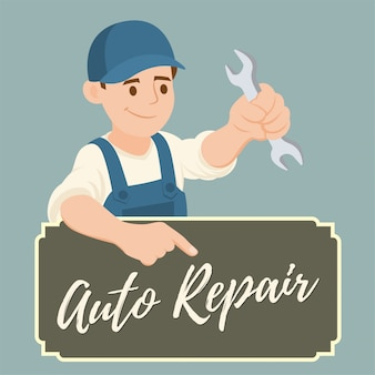 Banner of mechanic con una chiave inglese