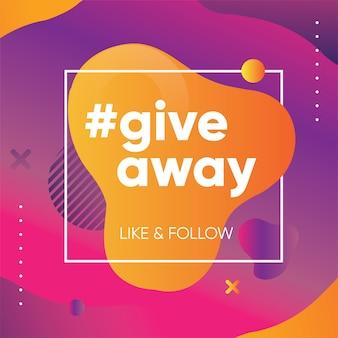 Banner omaggio per quiz o concorso per follower o iscritti nei social media