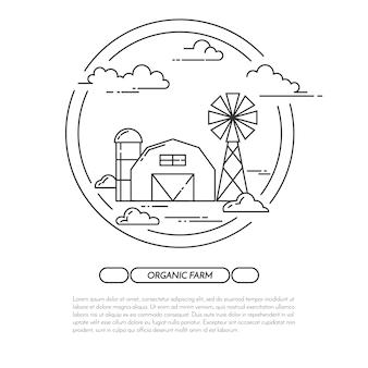 Banner orizzontale agriturismo. paesaggio dell'azienda agricola con il granaio, mulino a vento.