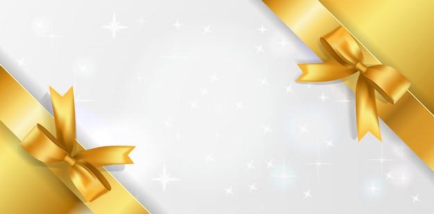 Banner orizzontale con centro bianco scintillante e nastri dorati ad angolo con fiocchi.