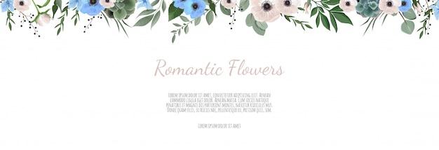 Banner orizzontale con foglie e fiori