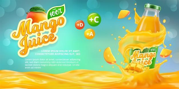Banner orizzontale con pubblicità realistica 3d di succo di mango, una bottiglia con succo di mango tra gli schizzi e un logo