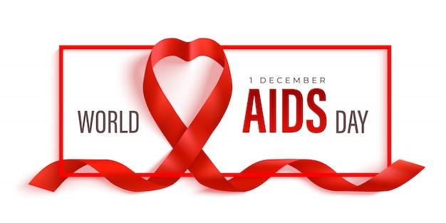 Banner orizzontale della giornata mondiale dell'aids con nastro rosso e cornice