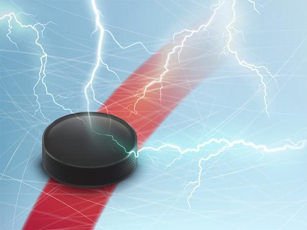 Banner orizzontale di hockey su ghiaccio con disco nero su ghiaccio blu e lampi elettrici.