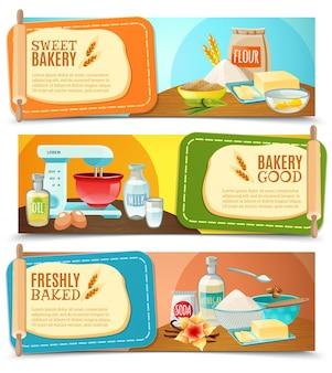 Banner orizzontale di ingredienti di cottura