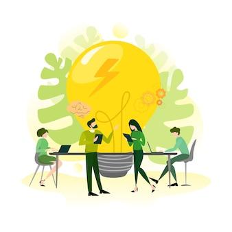 Banner orizzontale di innovazione per il tuo sito web. idea di soluzione creativa e invenzione moderna. ispirazione aziendale. illustrazione