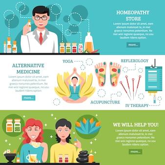 Banner orizzontale di medicina alternativa
