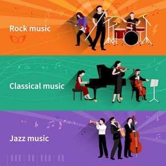 Banner orizzontale di musicisti con elementi di musica jazz classica rock
