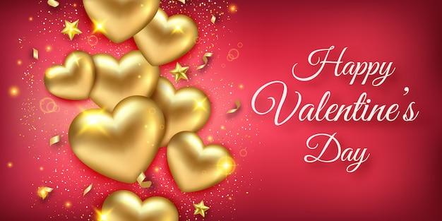 Banner orizzontale di san valentino con brillanti cuori dorati, nastri, stelle e coriandoli