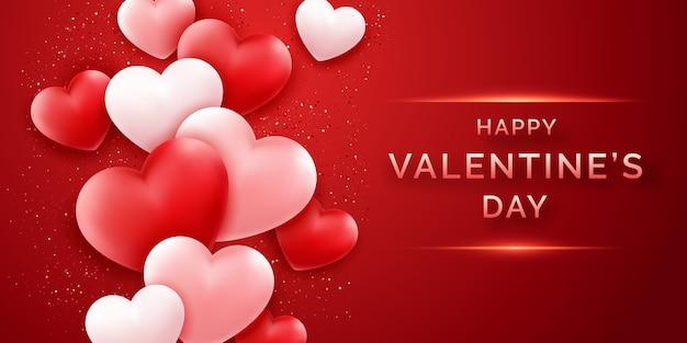 Banner orizzontale di san valentino con brillanti rosa e rosso e coriandoli
