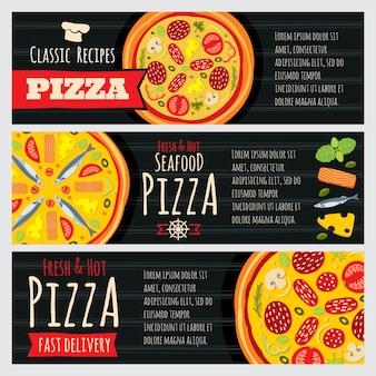 Banner orizzontale di vettore ristorante pizzeria e pizzeria italiana