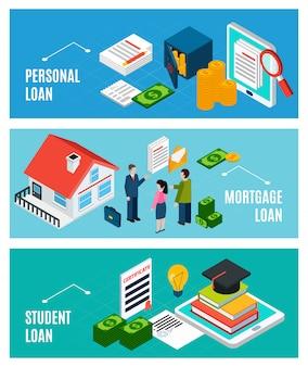 Banner orizzontale isometrica di prestiti impostato con tre composizioni di documenti finanziari e persone con testo