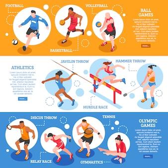 Banner orizzontale isometrica di sportivi