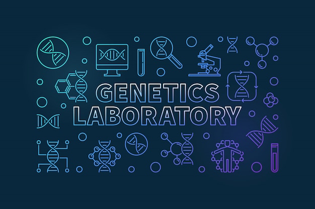 Banner orizzontale linea colorata di laboratorio di genetica