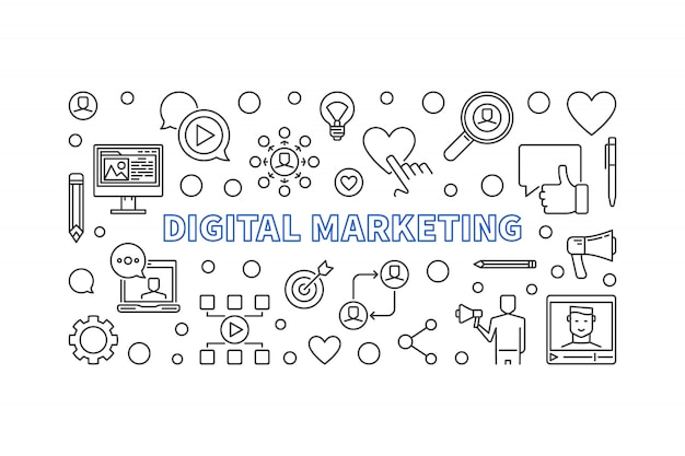 Banner orizzontale lineare di marketing digitale. illustrazione