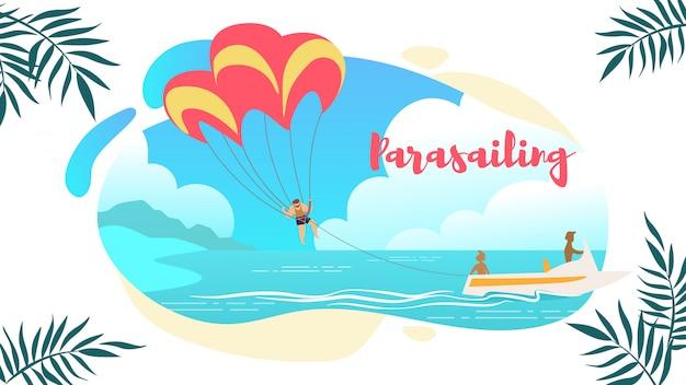 Banner orizzontale paracadute, uomo sotto paracadute sospesi a mezz'aria