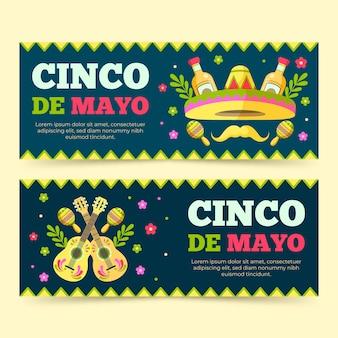 Banner orizzontali creativi piatti cinco de mayo