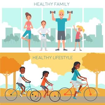 Banner orizzontali di famiglia attiva