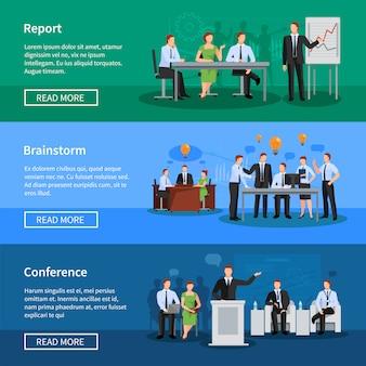 Banner orizzontali piatti di conferenza