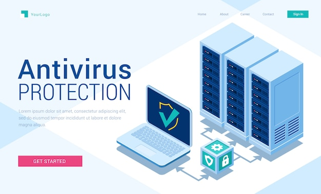 Banner pagina di destinazione isometrica di protezione antivirus