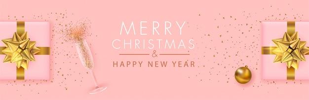 Banner panoramico di buon natale e felice anno nuovo
