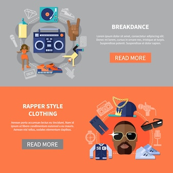 Banner per breakdance di abbigliamento in stile rapper