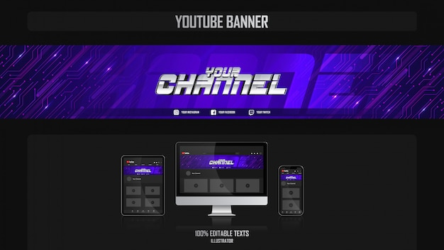 Banner per canale youtube con concept estetico