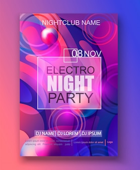 Banner per electro night party, sfondo sfumato