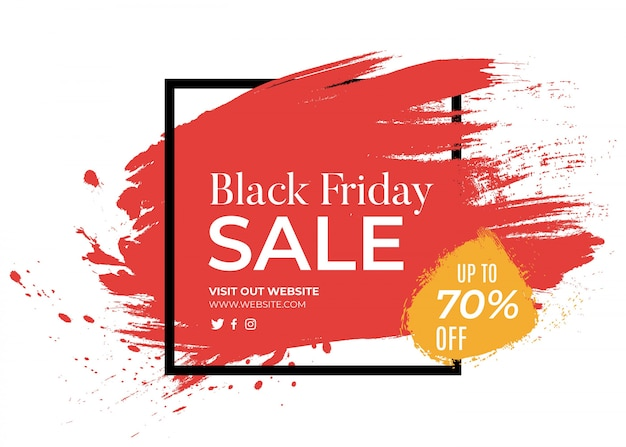 Banner per il black friday con splash rosso