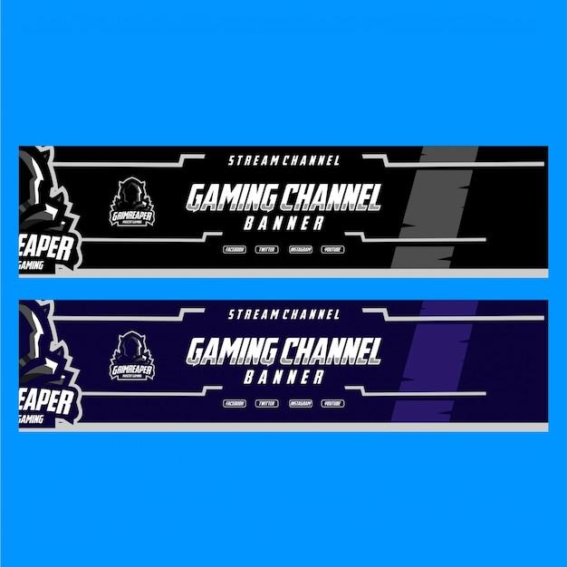 Banner per il canale di gioco in streaming con stile scuro