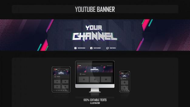 Banner per il canale youtube con il concetto di giocatore
