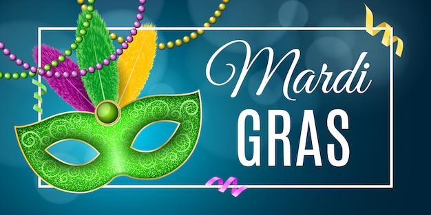 Banner per il carnevale del mardi gras. maschera lussuosa con piume colorate.