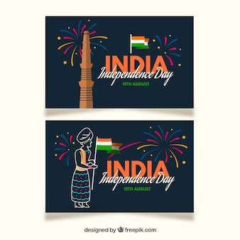 Banner per il giorno dell'indipendenza dell'India con design piatto