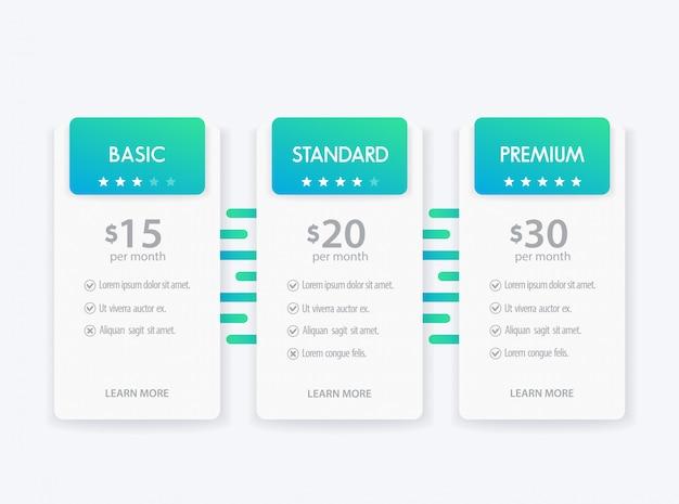 Banner per le tariffe, set di tabella dei prezzi e scatole
