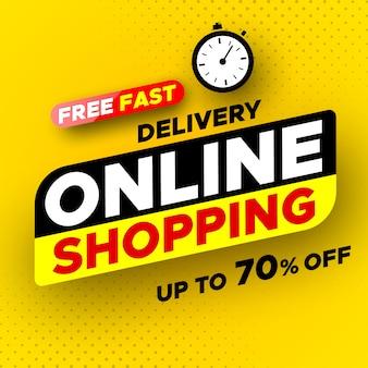 Banner per lo shopping online con consegna veloce gratuita. saldi, fino al 70% di sconto.