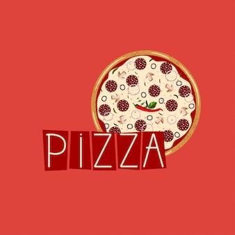 Banner per scatola di pizza. sfondo con peperoni interi pizza.