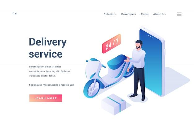Banner per sito web di servizi di consegna moderni