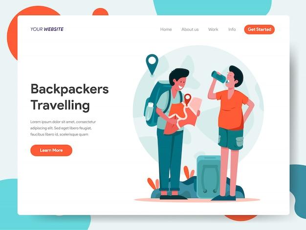 Banner per viaggiatori con zaino e sacco a pelo per landing page