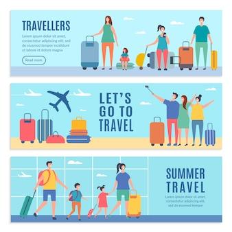 Banner personaggi estivi. la gente va alle vacanze estive