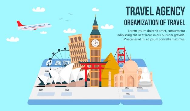 Banner piatto di agenzia di viaggi con scritte, testo.
