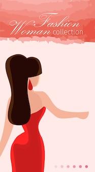 Banner piatto di fashion agency collection donna modello.