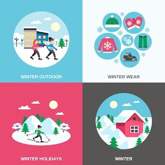Banner piatto di icone piane di inverno