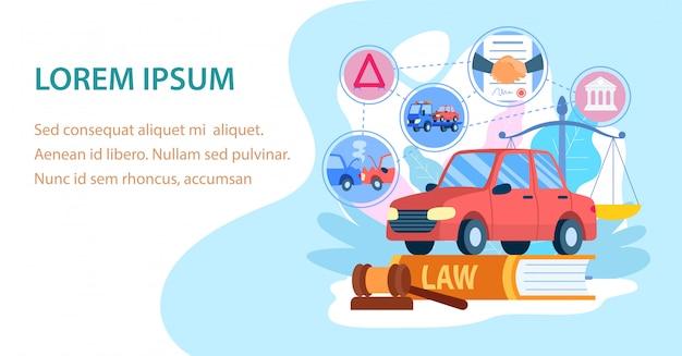 Banner piatto di servizio di assicurazione auto furto