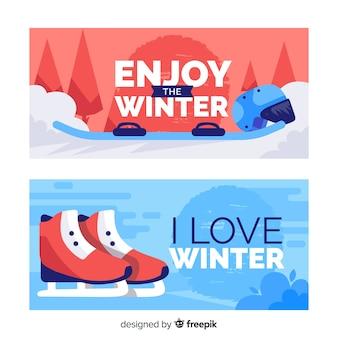 Banner piatto di sport invernali