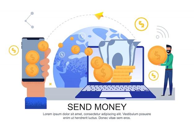 Banner piatto invia trasferimento di denaro da una carta all'altra.