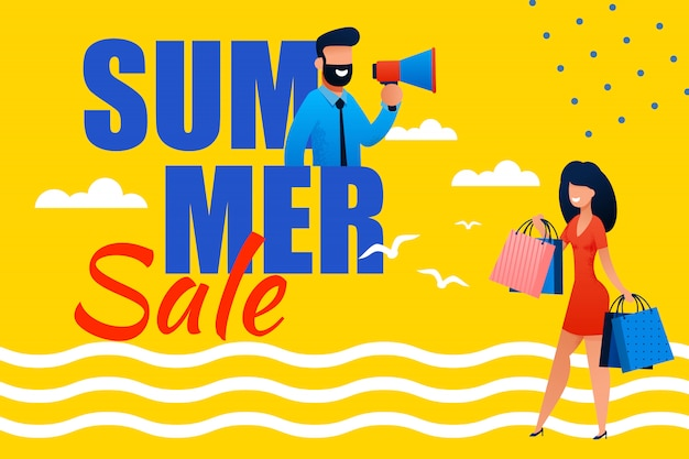 Banner piatto promozionale di vendite estive per le vacanze.