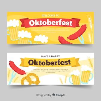 Banner più oktoberfest disegnati a mano