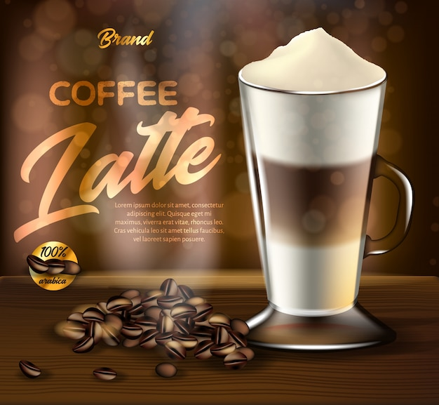 Banner promozionale arabica coffee latte, drink glass