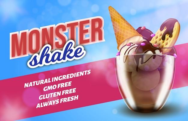 Banner promozionale che offre un dessert speciale al ghiaccio