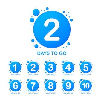 Banner promozionale con numero di giorni per andare a segno. illustrazione.